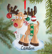 Personalized Egg Nog Moose Ornament