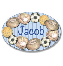 Personalized Wall Décor - Personalized Sports Stripe Name Plaque