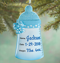 New Baby Gifts - Personalized Baby Bottle Ornament
