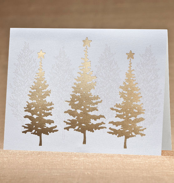 Golden December Holiday Cards - Set of 18