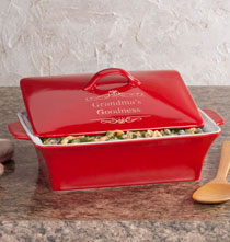 Gifts Under $50 - Personalized Red Lidded Rectangular Baking Dish