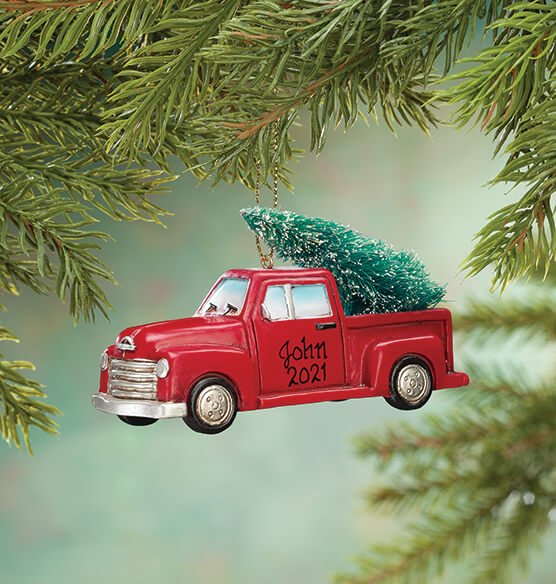 Personalized Red Truck With Tree Ornament Exposures