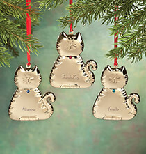 Pets - Personalized Brass Birthstone Cat Ornament