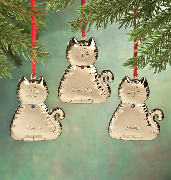 Personalized Brass Birthstone Cat Ornament