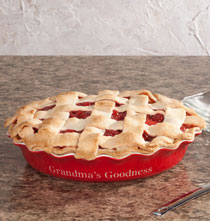 Gifts for Grandparents - Personalized Red Ceramic Pie Dish