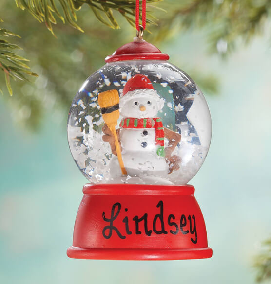 Personalized Snowman Waterglobe Ornament - View 1