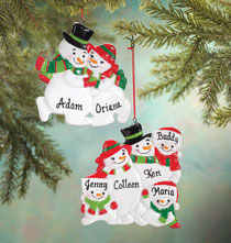 Personalized Snowman Family Ornament   Personalized Family of 2