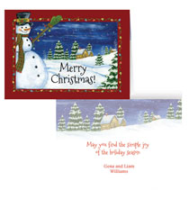 Holiday Cards - Festive Snowman Greeting Card - Set of 20