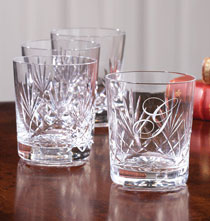 Gifts Under $100 - Personalized DOF Set of 4 Crystal Glasses