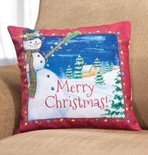 Festive Snowman Pillow