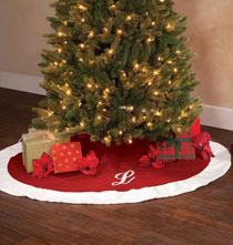 "Holiday Décor - 56"" Monogrammed Red Velvet Tree Skirt"