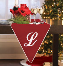 "Miscellaneous Home Decor - 72"" Monogramed Red Velvet Table Runner"