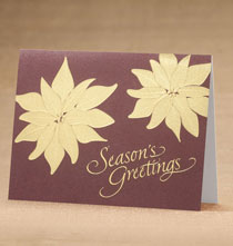 Holiday Cards - Golden Poinsettia