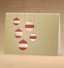 Holiday Cards - Golden Cascade Ornaments Holiday Cards - Set of 18