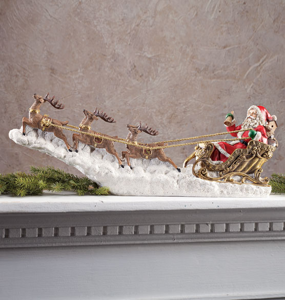 Santa in Sleigh Sculpture