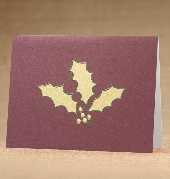 Holly Leaf Holiday Cards - Set of 18 - View 1