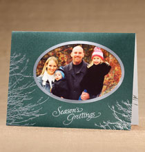 Silver Boughs Photo Christmas Holiday Cards Set of 18
