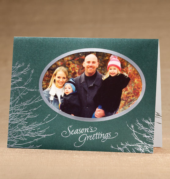 Silver Boughs Photo Christmas Holiday Cards Set of 18 - View 1