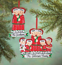 New - Personalized Family in Pajamas Ornament