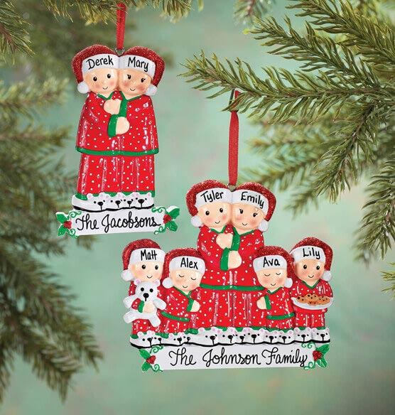 Personalized Family in Pajamas Ornament - View 1
