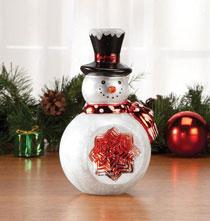 Glass Snowman Table Piece