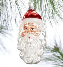 Santa Face Glass Ornament