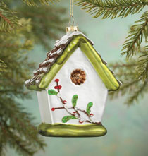 Holiday Ornaments - Glass Birdhouse Ornament