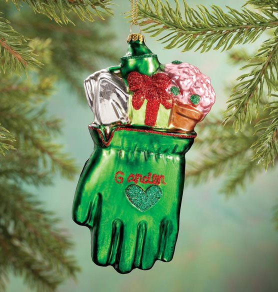 I Love Gardening Glass Ornament
