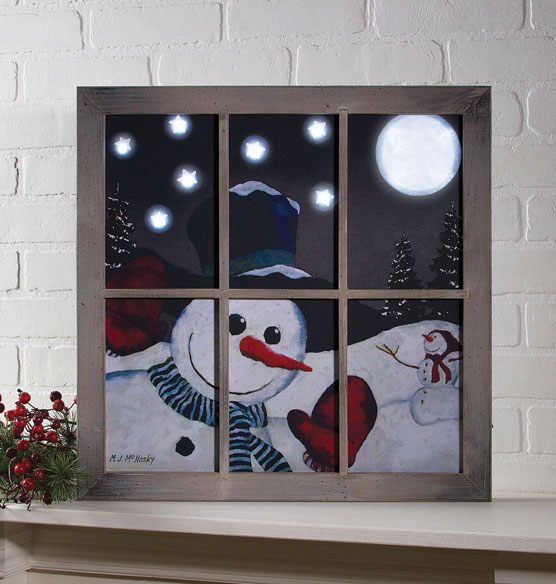Lighted Snow Happy Frame Canvas