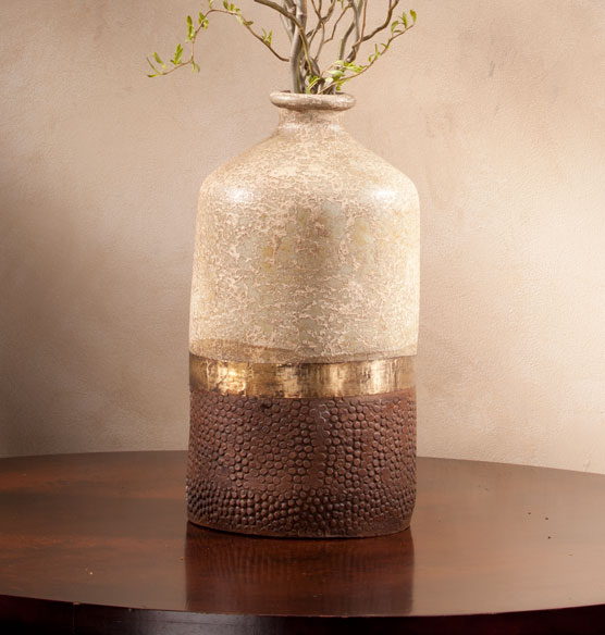 Terra Cotta and Copper Vase