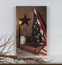 Decorative Accents - Lighted God and Country Canvas