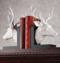 Holiday Décor - White Washed Deer Bookends Set of 2