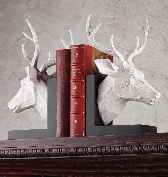 White Washed Deer Bookends Set of 2