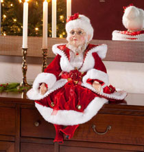 Holiday Décor - Sitting Velvet Mrs. Claus 30""