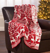 "Pillows, Blankets & Throws - Reversible Deer Knit Throw 50"" x 60"""