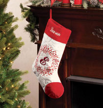Holiday Decor - Monogrammed Berry Wreath Stocking