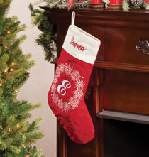Holiday Décor - Personalized Snowflake Wreath Stocking