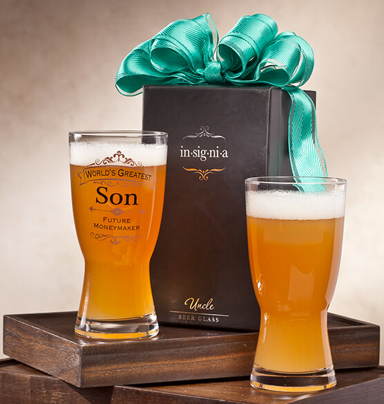 Personalized Insignia Beer Glass - View 1