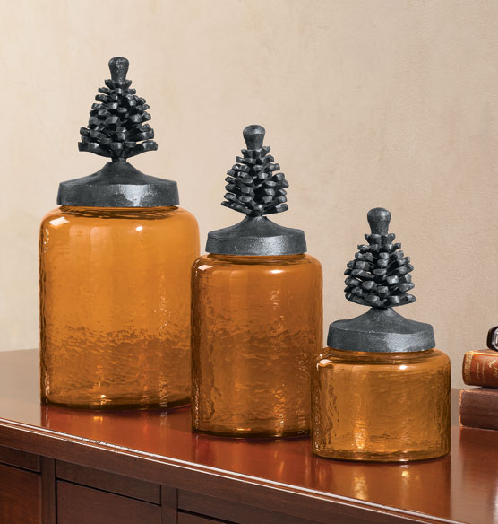 Pine Cone Glass Jars Set of 3