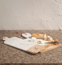 Personalized Kitchen Gifts - Personalized Marble and Wood Cutting Board
