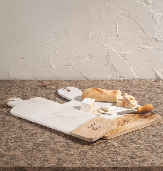 Personalized Marble and Wood Cutting Board