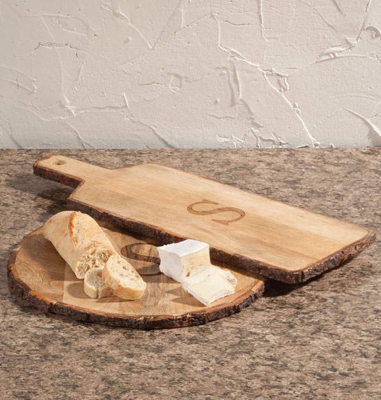 Personalized Rustic Bark Cutting Board Set of 2