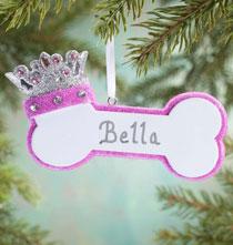 Personalized Princess Dog Bone Ornament