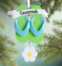 Holiday Ornaments - Personalized Flip-Flop Ornament