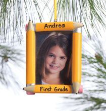 Holiday Ornaments - Personalized School Frame Ornament