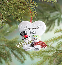 Personalized Engaged Snowmen Ornament