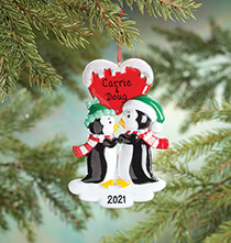 Holiday Ornaments - Personalized Penguin Couple Ornament
