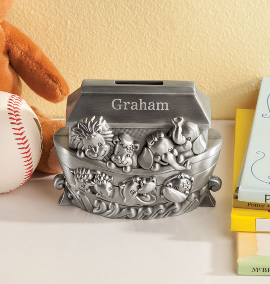 Personalized Pewter Noah's Ark Coin Bank