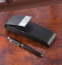Personalized Tabletop - Personalized Pen Case with 2 Noir Pens
