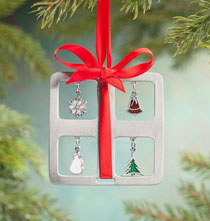 Holiday Ornaments - Pewter Charm Present Ornament